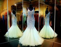 art cross - Luxury Mermaid Prom Dresses Sleeveless Spaghetti Neck Backless Crystal Trumpet Pageant Dress Beads Vintage Plus Size Formal Party Gowns