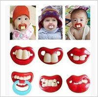 Wholesale 500 BBA4641 hot baby pacifier funny pacifier Cute Teeth Mustache Infant Pacifier Orthodontic Dummy Beard Nipples Pacifiers Infant Pacifier