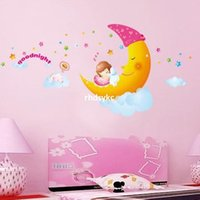 baby girl wall decal - 10pcs wall stickers home decor three generations of removable moon baby girl sleeping night AM005 small bedroom wall stickers