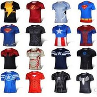 Wholesale 2015 New Men T shirt Superman IronMan Batman Spiderman Short Sleeve T shirt Men s Clothing Cycling Jerseys Superhero Movie T shirts