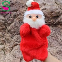 Wholesale new Christmas gift cartoon Father Christmas soft plush red hand puppets Toys story telling gift hot sale