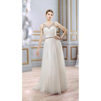 aline wedding dresses - 2015 New Arrival Ivory Tulle Wedding Dresses Scoop Sheer with Shining Beads Crystal Aline Pleats Tulle Long Bridal Gowns Custom Made Cheap