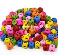 Wholesale Free Ship Mixed Alphabet Letter Cube Wood Spacer Beads x9mm