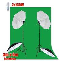 Wholesale 2016 New x135W Photo Studio Continuous quot cm Umbrella Lighting x6m Cotton Muslin Green Muslin Backdrop