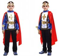 Polyester baby king costume - Fit for cm cm Boys Honorable Prince Hallowean Cosplay Costumes Sets Baby Kids Cute King Party Costumes with Red Cape Suit M L XL