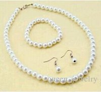 Cheap Wholesale - Wholesale Jewelry Sets Bride accessories 1Set = necklace +bracelet +earring imitation pearls handcrafted beaded Jewelry Sets
