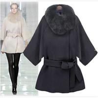 Wholesale 2016 Long Wool Coat Fashion Women Winter Fur Trench Coat Plus Size Sexy Long Sleeve Cape Coat Lapel Fur Collar Jacket Outerwear W81