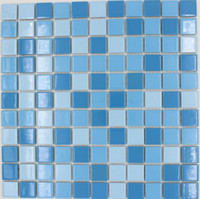 Wholesale square tile Sky blue mixed blue color ceramic mosaic tile swimming pool design bathroom kitchenroom backsplash tile