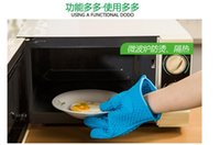 Wholesale Hot Silicone BBQ Gloves Insulated Kitchen Tool Heat Resistant Glove Oven Pot Holder BBQ Baking Cooking Mitts Five Fingers Anti Slip Dots