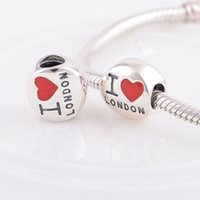 london necklace - charms charm Crystal Crystal Sterling Silver I Love London Charm fit European Bracelets No90 YZ566