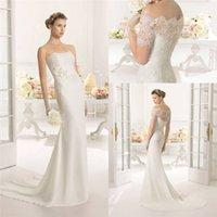 Cheap elegant Boat Neck mermaid wedding gowns with jacket color Ivory lace applique wedding dresses vestido de noiva sereia sexy 2015