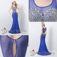 Wholesale In Stock Royal Blue Lace Evening Dresses Real Image Prom Dress Long Formal Party Dresses Beading Crystals Long Women Evening Prom Gown