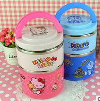 Wholesale Kawaii Hello Kitty Doraemon Double Layer Thermal Lunch Box Dinnerware Vacuum Food Container TRD