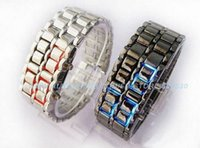 Wholesale Led Watch Stainless Steel Digital Lava Style Red Blue Light Metal Fashion Rectangle Watches New Arrival Freeshipping order lt no t