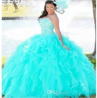 Wholesale 2016 New Crystals Sweetheart Sweet Quinceanera Dresses Ball Gowns Lace Up Back Aqua Pink Cascading Ruffled Organza Prom Pageant Dresses