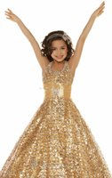 Wholesale 2015 Halter Glitz Pageant Dresses Sequins Lace Gold Ball gown Beads Party Dresses Pageant Dresses For Girls Bling Girl s Pageant Dresses
