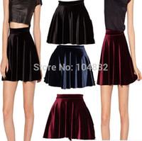 Wholesale East Knitting Women High Waist Velvet Pleated Skirts New Fashion Velvet Black Short Sexy Skater Skirt Colors Plus Size