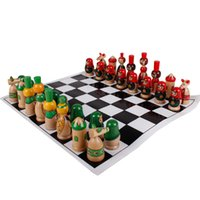 Wholesale Colorful wooden carton chess set for kids best Birthday gift