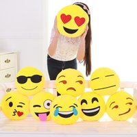 Wholesale Novel Hot Sale Emoji Cushion Smiley Face Expression Round Cushions Home Pillow Stuffed Plush Soft Warm Toy