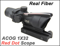 Wholesale Tactical ACOG x32 Fiber Source Red Dot Scope with Real Red Fiber Rifle Scopes Black