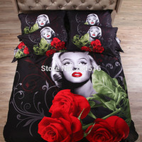 Cheap 3d red Rose Marilyn Monroe duvet cover black bedsheet pillow sham 4pc bedding sets 100% cotton fabric Fast shipping