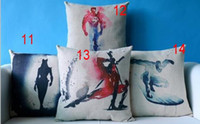 Wholesale Superhero Avengers cushion case water colored superman catwomen spiderman Cushion Cases linen Pillow Cover festive Home Textile Decor gift