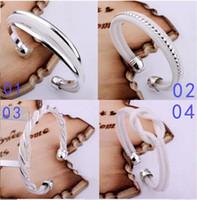 Wholesale High Quality Women s Silver Bangle Bracelets Jewelry Mix Style Fasion Gift Silver Shining Bangle Bracelets