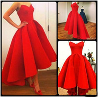 Wholesale Elegant Bright Red Arabic Evening Dresses Sweetheart High Low Ball Gown Satin Prom Dress Gowns Asymmetrical Formal Party Gowns