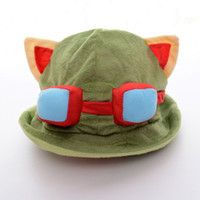 Cheap Wholesale-Anime Plush Teemo Hat Girls Boys Costume Hats Cosplay Caps Teenage Cartoon Games Character Hats 7*14'' New #LN