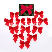 Wholesale 12 Pack Red Velvet Bows Festival Christmas Tree Gift Decoration