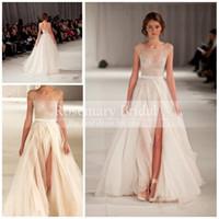short fromal dresses - New Arrival Elie Saab Elegant Runway White NudeTulle Scoop tank Embroidery Long Strap Evening Fromal Split Celebrity Dresses Sale