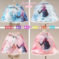 Wholesale 2015 new frozen elsa anna princess cape girls fashin fur white cloak children spring mantle clothing SF P30980