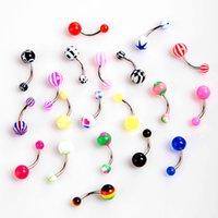 Wholesale 20Pcs Colorful Belly Button Rings Decoration Stainless Steel Ball Barbell Curved Belly Button Rings Body Piercing Jewelry