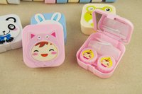 plastic lens - 2015 New Women Contact Lens Animal Nursing Boxes Lovely Rabbit Frog Cow Monkey Cat Bear Plastic Box High Quality Contact Accessories H3204