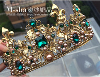 Wholesale Baroque gold green tire large restoring ancient ways round crown the queen s wedding tiara