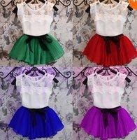 Cheap 2pc set New 2015 birthday party dress for girl, shirt+Skirt summer Children's boutique clothing cute girl dresses D5