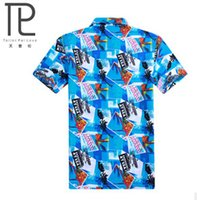 beach polo shirts - new brand men t shirts coconut trees printed T shirts male sand beach shirt turn down polyester t shirts for men B1