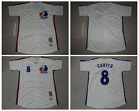 Wholesale Cheap Men Montreal Expos Carter Baseball Jerseys Blank Cream Throwback Embroidery Name Logo MLB Football Jersey M XXXL