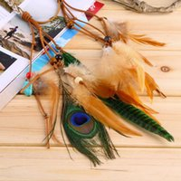 Wholesale Hot Fashion Festival Feather Headband Hippie Headdress Hair Accessories Boho peacock feather headdress