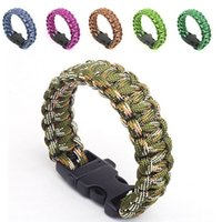 paracord bracelets - 87 Colors Top Quality Outdoor Survival Bracelet Parachute Cord Emergency Paracord Camping Bracelet with Whistle Buckle