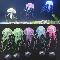 Wholesale Multicolor Vivid Glowing Effect Fluorescent Artificial Jellyfish Aquarium Fish Tank Decoration Ornament Swim Pool Bath Decor