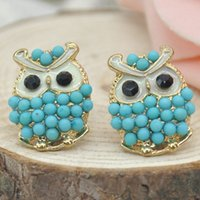 Wholesale Hot Sale The Hot Selling Colors Owl Womens Earrings Faux Pearl Animals Accessories Stud Earrings FMHM452 M1