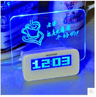 alarm temp light clock - newest fashion novel message board music alarm clock night light Temp Display Projection lamp romantic valentine s day