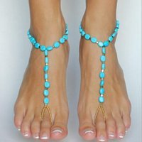 Wholesale Bridal Luxury Barefoot Sandals turquoise Designer Anklet Women Elastic Ankle Bracelet Foot Ankle Chain Toe Ring Jewelry sandbeach wedding