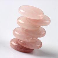 Wholesale Rose quartz pieces Palm stone Reiki Healing Chakra with Free pouch