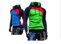 Wholesale Retail NEW Leisure Men s Hoodies Patchwork Colors Napping Fashion Men s Tracksuits Sweatshirts Hooded Men Coats colors size M XXXL