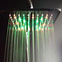 Cheap 200*200*10mm brass rainbow color LED Light Rain Shower Head,Shower Bath,led Overhead Shower