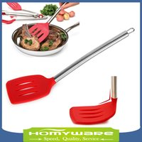 Wholesale cm Premium Silicone Slotted Turner Spatula Slotted Spatula fish turner with stainless steel handle Non stick cooking