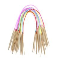 Wholesale 80cm pairs Multicolor Tube Circular Bamboo Knitting Needles Crafts Yarn Tools