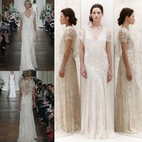 Cheap Grecian Beach Wedding Dresses with Deep V-Neck Hollow Sheer Short Sleeve Sweep Train Lace Embroidery Illusion Back 2015 A-Line Bridal Gowns